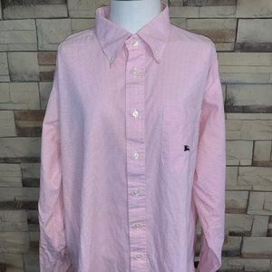 Men's XXL Burberry Gingham Pink Oxford Shirt